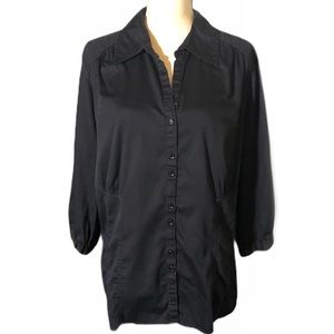 Lane Bryant Black Long Sleeve Button Down Shirt